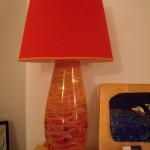 lampada rosso e arancio engobbi e oro